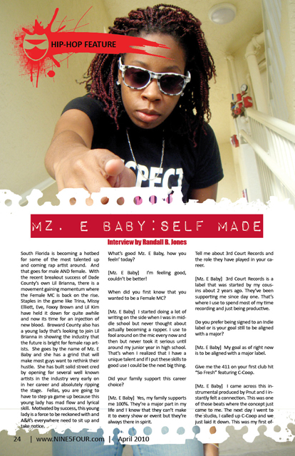 Nine5Four The Magazine Hip-Hop Feature Mz. E Baby