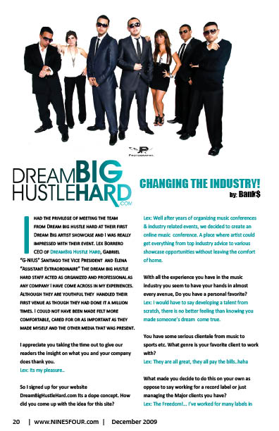 Nine5Four The Magazine business Feature: Dream Big Hustle Hard