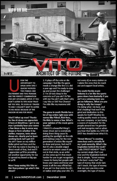 Nine5Four The Magazine Rap Feaure: Vito or Die