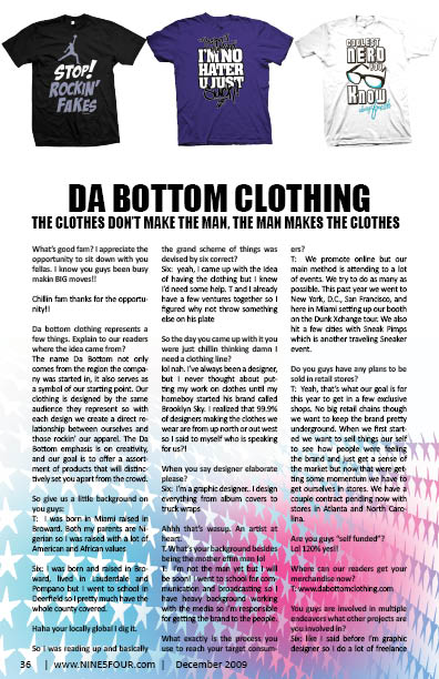 Nine5Four The Magazine Business Feature: Da Bottom Clothing