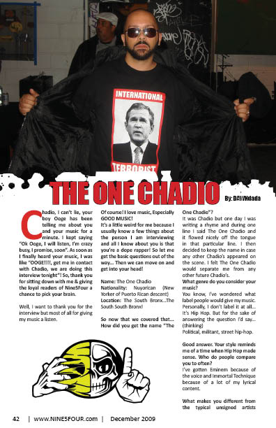 Nine5Four The Magazine Rap Feature The One Chadio